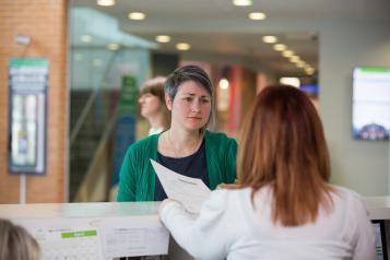 woman at reception