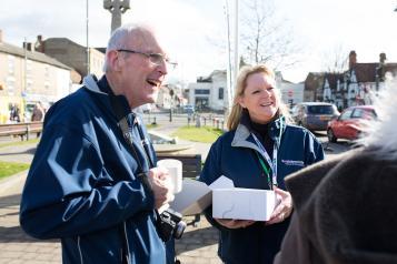 Volunteers talking