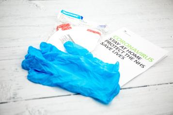 Covid leaflet and gloves