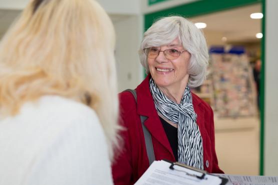 female volunteer smiling