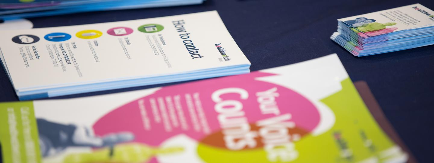 Healthwatch leaflets on the a table